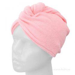 Ručník turban na mokré vlasy - růžový