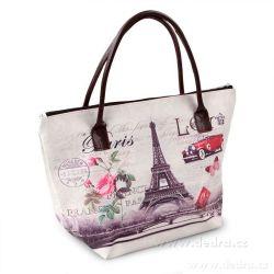 Stylová kabelka z canvas textilie Paris of Love