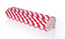 DEDRA - Papírová jednorázová brčka 50ks červená