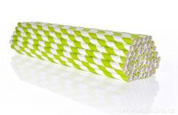DEDRA - Papírová jednorázová brčka 50ks zelená