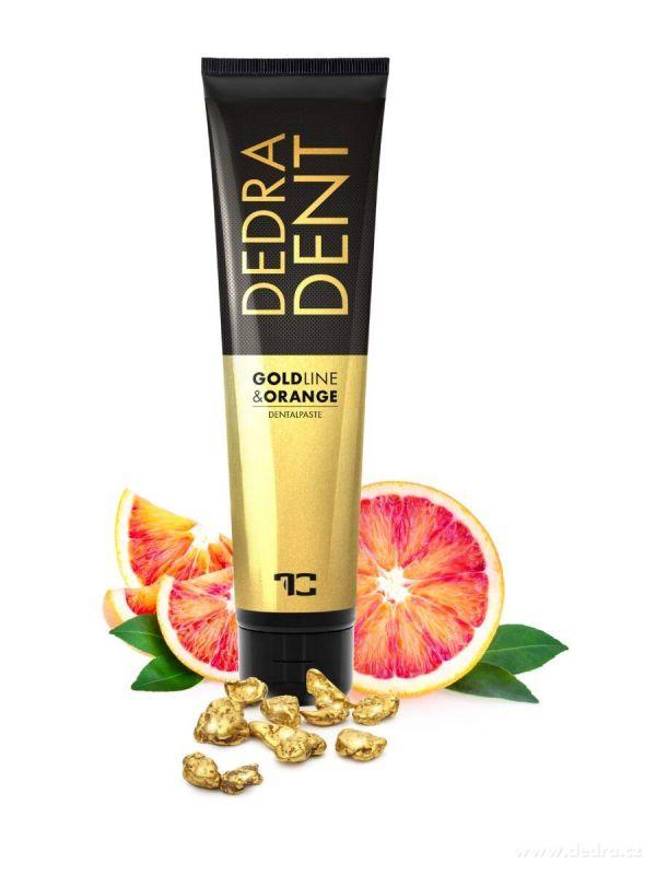 DEDRA DENT přírodní zubní pasta GOLDLINE & ORANGE se zlatem, složkou KALIDENT® a silicemi z hřebíčku, pomeranče a máty