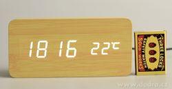 digitální LED dřevěné hodiny SYSTEMAT WOODOO CLOCK s budíkem světlé dřevo