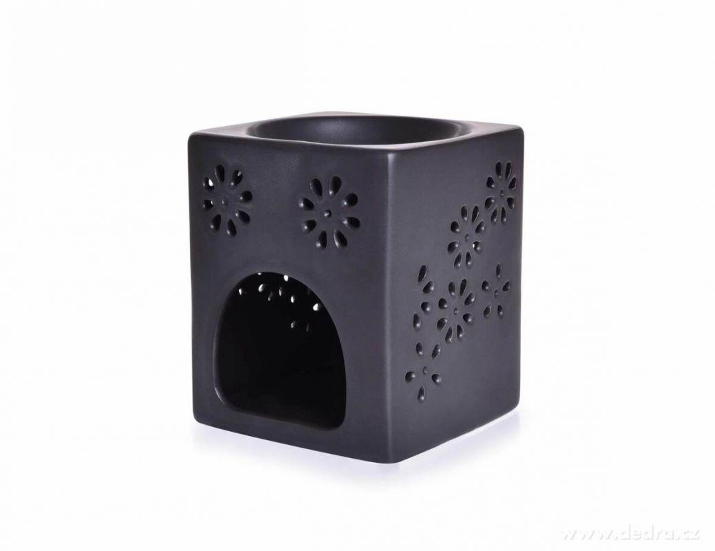 Keramická aromalampa na čajové sviečky s čiernou matnou glazúrou