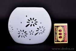 Keramická aromalampa na čajové sviečky s krajkovým dekorom