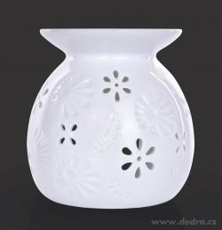 Keramická aromalampa lesklá biela