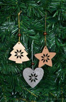 Kolekce ozdob, vánoční, dřevěné 6ks