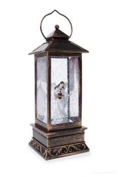 LED lucerna s poletujícími třpytkami, anděl s lucernou