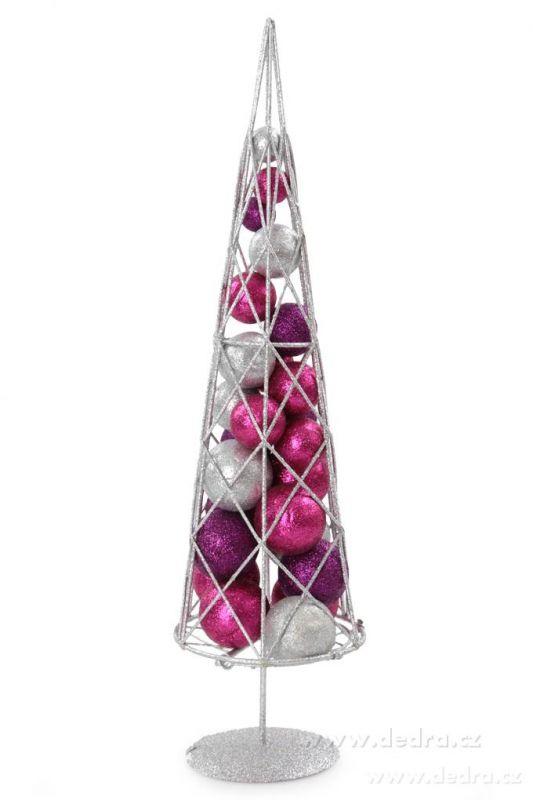 Vánoční stromek s třpytivými kouličkami kovová konstrukce, fuchsiovo-stříbrno-fialová