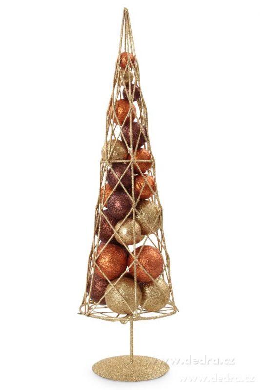 Vánoční stromek s třpytivými kouličkami kovová konstrukce, zlato-oranž.-čokoláda
