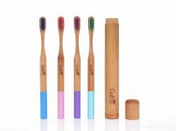 Zubní kartáček GoEco BAMBOO z bambusu s velmi měkkými štětinkami, pastelově růžový