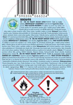 BACILEX® ultraHYGIENE+ 500ml gel na toalety s 65% alkoholu