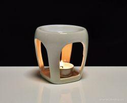 Keramická aromalampa na čajové sviečky s lesklou bielou glazúrou okrúhla