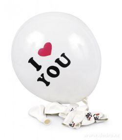 Nafukovací balónky potištěné s nápisem I LOVE YOU 8 ks